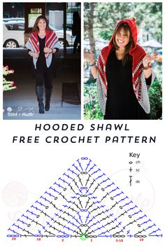 Woodward Hooded Shawl Free Crochet Pattern A chunky shawl t. - Woodward Hooded Shawl Free Crochet Pattern A chunky shawl that is not too chun - Crochet Shawl Diagram, Crochet Shawl Free, Crochet Shawls And Wraps, Crochet Scarves, Crochet Clothes, Crochet Stitches, Knit Crochet, Crochet Hats, Crochet Dresses