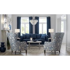 Blue is the hottest color in home decor. See our ideas for blue furniture and other home furnishings. Blue Couch Living Room, Blue And White Living Room, Blue Living Room Decor, Living Room Color Schemes, Living Room Grey, Formal Living Rooms, Home Living Room, Living Room Designs, Blue Curtains Living Room
