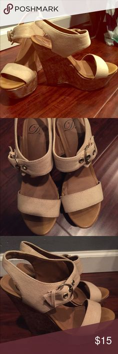 """Tan wedge heel Just about a 5"""" heel with a 2.5"""" platform in the front. Wore them only twice. A little too tall for me. Was given to me as a gift Shoes Wedges"""