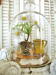 ChiPPy! - SHaBBy!  ViNtaGe Garden Adornments under cloche Flower Frog... Watering Can... Beaded Daisies...