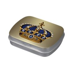 Royal Blue Crown Prince Baby Shower Candy Jelly Belly Candy Tin