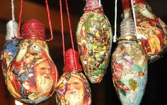 don't throw away your burnt out light bulbs!! or give them to me ;)     Light bulbs,Glue,Napkins,Christmas images, Paint,Glitter, something you can rest the light bulb on when it's drying,Varnish,wire ,Scissors