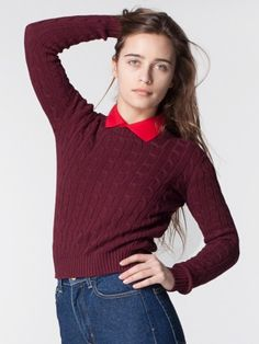 Women's Cable Knit Pullover, in burgundy