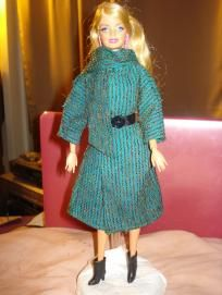 Green striped coat with attached scarf for Barbie Dolls - ed268
