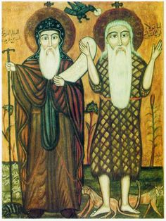 Coptic Orthodox Oriental Icon Abba Anthony and saint Paul