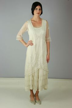 17d2431fb6b 1920s Plus Size Wedding or Tea Dress  Titanic Tea Party Dress in Ivory by  Nataya