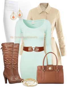 """Mint Tunic & White Leggings"" by casuality on Polyvore"