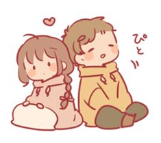Obediently Sticker to convey feelings Cute Young Couples, Cute Couple Poses, Kawaii Drawings, Cartoon Drawings, Cute Drawings, Cute Chibi Couple, Anime Love Couple, Anime Couples Manga, Cute Anime Couples