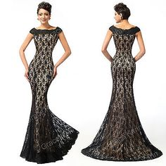 RETRO 50s LACE FISHTAIL Long Formal Evening Bridesmaid Wedding Party Prom Dress