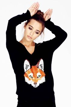 Wildfox Couture Fox Trot V-Neck Sweater