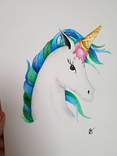 Uni-cone~unicorn ice cream original watercolour painting by TheWaterBee on Etsy