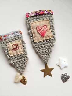 crochet embroidery brooches