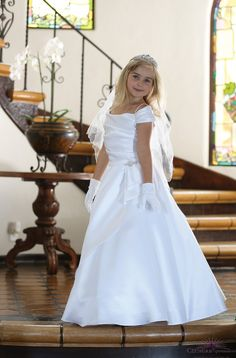 Elegant Satin First Communion dress with gorgeous off shoulder neckline. This Beautiful First Communion Dress includes a rhinestone brooch. The back of this White Long First Communion Dress features a lace corset. Shop First Communion Clothing Stores Girls First Communion Dresses, Dresses Near Me, Star Wars Watch, Lace Corset, Young Fashion, White Satin, Flower Girl Dresses, Girls Dresses, Fancy Dress