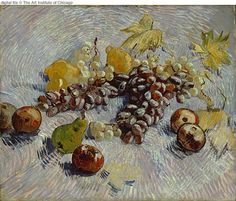 """Vincent van Gogh. """"Still Life with Apples, Pears, Lemons and Grapes"""". Autumn, 1887. Oil on canvas. 46'5x55'2cm."""
