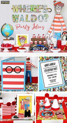 Where's Waldo Party Wheres Waldo Birthday Party Ideas Preteen Birthday, 12th Birthday, Birthday Parties, Birthday Ideas, Birthday Cards, Wo Ist Waldo, Wheres Wally, Wholesale Party Supplies, Birthday Activities