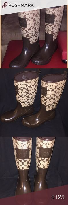 "COACH RAIN BOOTS   Classic ""C"" Monogram Size: 8B *Purchased from the COACH website* Style: PEARL  Color: BROWN & TAN / Only worn once or twice. Beautiful in ""Like New"" Condition. Box Not Included (stored on shelf). The classic rain boot that goes with everything! A wardrobe MUST HAVE! Coach Shoes Winter & Rain Boots"