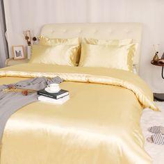 Orange Comforter, Bed Comforter Sets, King Duvet Set, Yellow Bedding, Queen Bedding Sets, Bed Duvet Covers, Duvet Cover Sets, Small House Living, Satin Bedding