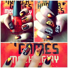 the Hunger games nail art by ~evaogo on deviantART