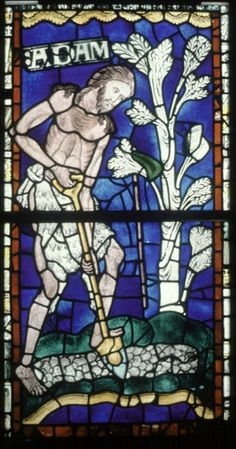 Adam - oldest stained glass window in Canterbury Cathedral 1176 AD #StainedGlassCathedral