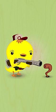 'Early Bird Worm Hunter' Funny Saying Parody Cute Animals - Plywood Wood Print Poster Wall Art