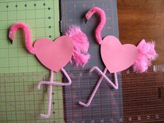 flamingo valentines | pink flamingo valentines using pipe cleaners and ... | Kid crafts