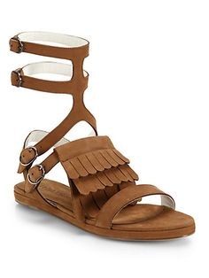 Fringed Suede Gladiator Sandals $375.0 by Saks Fifth Avenue