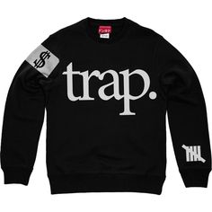 Trap 5 Sweatshirt in (Black) ($65) ❤ liked on Polyvore featuring tops, hoodies, sweatshirts, shirts, sweaters, crewnecks, crew-neck sweatshirts, print shirts, crew-neck shirts and pattern tops