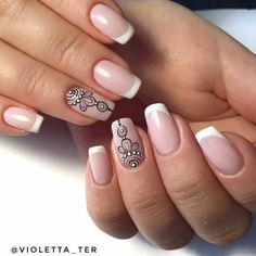 Neutrality is not synonymous with beige. Just because nail manicures aren't bold, like dark acrylic nails or ornately decorated high heel nails, doesn't mean they… French Nails, Love Nails, Pretty Nails, Henna Nails, Mandala Nails, Finger Nail Art, Nail Decorations, Stylish Nails, Simple Nails