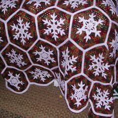 (4) Name: 'Crocheting : Snowflake Afghan C-120
