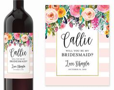 Will You Be My Bridesmaid Wine Labels Watercolor por LabelWithLove