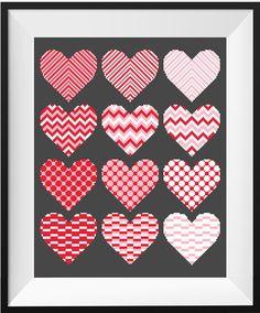 Heart Cross Stitch PDF Printable Pattern Geometric LOVE