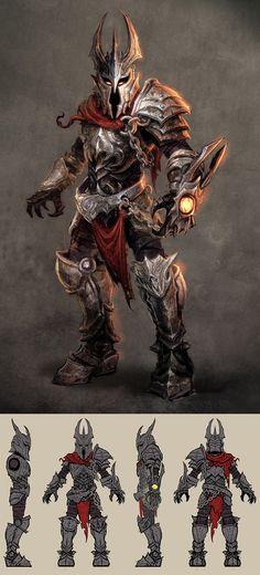 Concept for a player character- Overlord. The Overlord in this game is a 16 year old boy so the armour is a little big for him This design is for Overlord: Dark Legend (WII game). It was produced b...