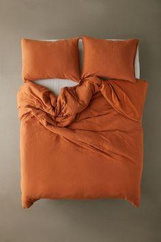 Shop Washed Cotton Slub Duvet Cover at Urban Outfitters today. Burnt Orange Comforter, Orange Bedding, Bedroom Orange, Mustard Bedding, Orange Duvet Covers, 100 Cotton Duvet Covers, Cotton Bedding Sets, Comforter Cover, Comforter Sets