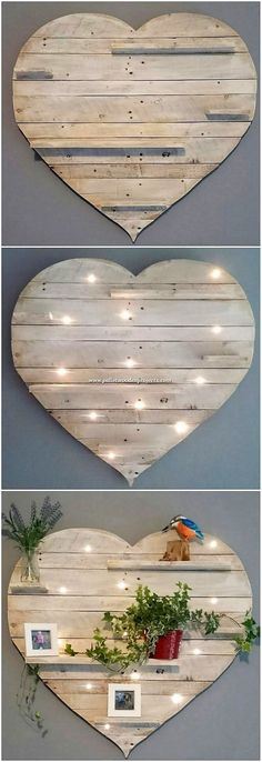 Most Beautiful DIY Wood Pallet Projects This image of awesome ideas of wood pallet recycling, we would make you show out the heart shape wall shelf design that is blending with the amazing blend of the creative art work too. This whole designing is shaped Diy Wood Pallet, Wood Pallet Recycling, Wooden Pallet Projects, Pallet Crafts, Diy Pallet Furniture, Wooden Diy, Furniture Projects, Wood Pallets, Wood Crafts