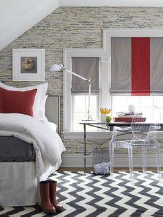 BEDROOM – Guest bedroom – Washington, CT, Home - contemporary - bedroom - dallas - S. Decor, Bedroom Red, Contemporary Bedroom, Bedroom Design, Interior, Bedroom Decor, Beautiful Bedrooms, Home Decor, House Interior