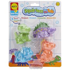 Find amazing ALEX Toys Rub a Dub Squirters for the Tub - Dinos dinosaur gifts for your dinosaur lover. Great for any occasion! Bath Toys For Toddlers, Toddler Toys, Toddler Activities, Baby Toys, Baby Aspen, Kids Helmets, Dinosaur Gifts, Dinosaur Birthday, Alex Toys