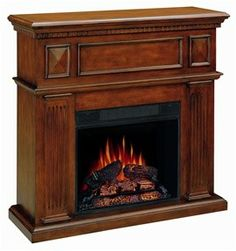 Mahogany Wall Mantel Electric Fireplace Heater