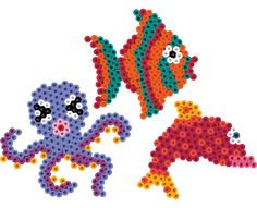 Colorful creatures of the deep can be created with Perler Beads using our uniquely shaped pegboards. Add them to an aquarium to keep the real fish company!