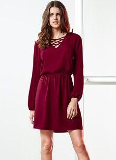 Vestido Decote com Amarração Lunender (Vermelho)