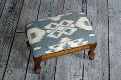 Small Vintage Wooden Upholstered Footstool with Blue Southwestern fabric - Jonas Stardust by territoryhardgoods, $58.00