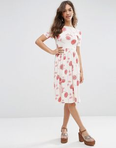 ASOS COLLECTION ASOS Midi Dress In Floral Print With Short Sleeve