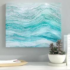 Ebern Designs 'Neptune's Fury' Acrylic Painting Print on Canvas in Blue/Gray/Teal