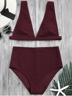 Textured Plunge High Waisted Bikini Set - BURGUNDY S