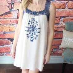 """Navy/cream Embroidered Lace Trim Dress It's cute dress! Worn once - no holes or stains. 65% cotton and 35% polyester. Measurement laying flat: bust: 21"""" length: 36"""" Boutique Dresses Midi"""