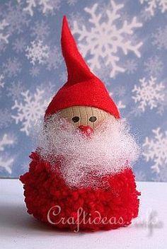 Pom Pom Santa Decoration | AllFreeChristmasCrafts.com