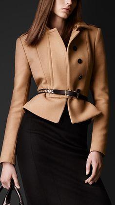 Burberry Prorsum Felted Wool Peplum Jacket