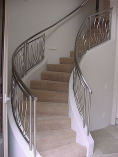 Custom Made Custom Stainless Steel Railing Metal Staircase Railing, Steel Railing Design, Modern Stair Railing, Balcony Railing Design, Wrought Iron Stairs, Modern Stairs, Staircase Design, Balustrade Inox, Stainless Steel Stair Railing
