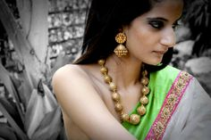 "Beautiful ""Uday"" Jhumkas, Traditional hand-carved Neckpiece, Elegant Saree"