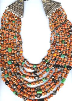 Nine strand necklace of coral, turquoise, jet , silver and amber with silver enameled turminals from Himachel Pradesh, North India   private collection of Linda Pastorino