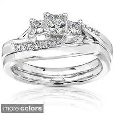 Annello 14k Gold 1/2ct TDW Princess-cut Diamond Bridal Ring Set (H-I, I1-I2)